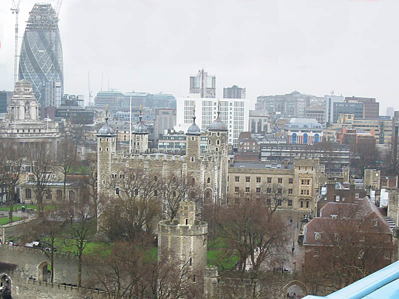 Swiss Reinsurance Tower and Tower of London from Tower Bridge