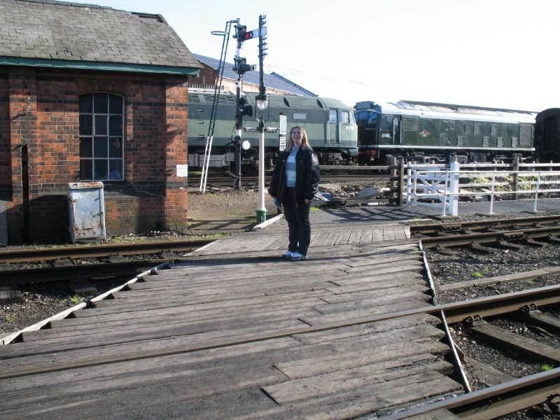 Lucy crossing the railway at Loughborough Central on the Great Central Railway
