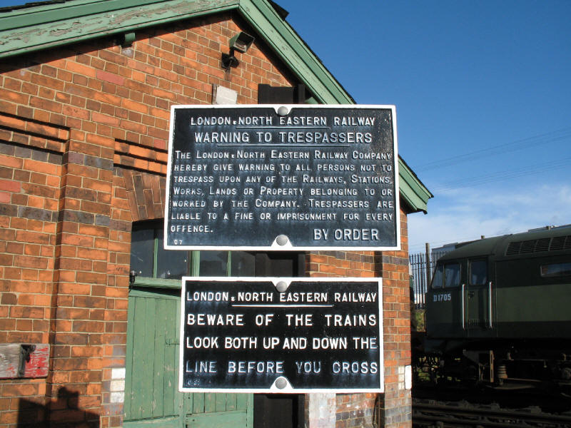 Warning notices at Loughborough Central on the Great Central Railway