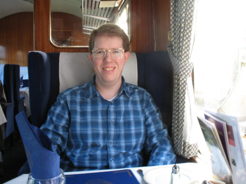 Stephen in the first class dining carriage of the Great Central Railway