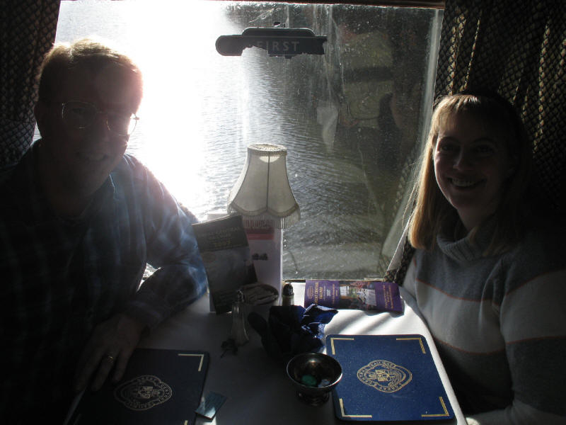 Stephen and Lucy in the first class dining carriage, Swithland Reservoir from Swithland viaduct, Great Central Railway