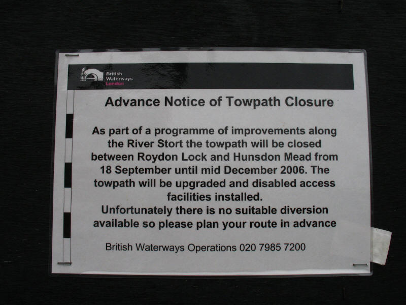 Advance notice of towpath closure