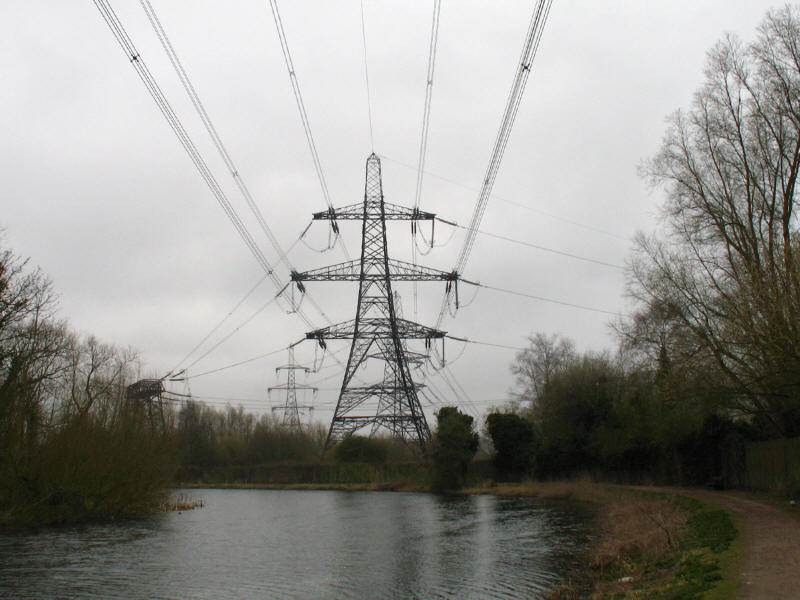Electricity pylons going to Hoddesdon power station by the River Lee Navigation