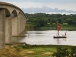 A Thames Barge heading under the Orwell Bridge