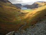 Warnscale Bottom and Buttermere while ascending Fleetwith Pike