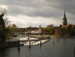 Marlow weir, bridge and church from the lock