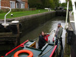 Ben steers Explorer out of one of the Braunston locks