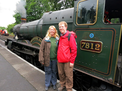 Lucy and Stephen in front of Erlestoke Manor during a 10th wedding anniversary visit to the Severn Valley Railway