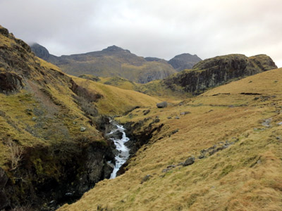 Scafell Pike from the waterfalls of Eskdale