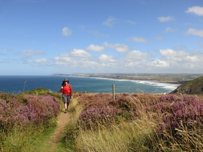 Walking the South West Coast Path above Widemouth Bay