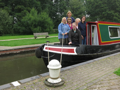 The crew of our narrowboat in Padworth Lock